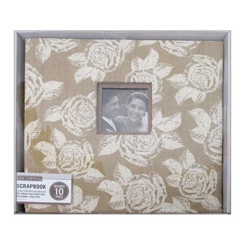 K&Co Scrapbook 12x12 Burlap Floral Boxed