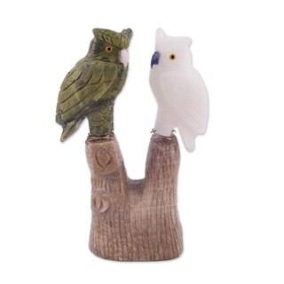 Serpentine and Onyx Sculpture, 'Curious Owls' (Peru)