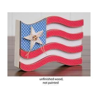 Foundations Decor Wood Shape USA Flag