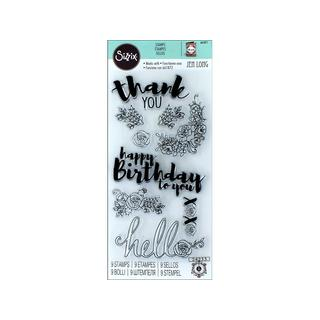 Sizzix Jen Long Sentiments In Bloom Stamps
