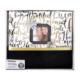 K&Co Scrapbook 12x12 Gold Brushed Sentiments Bx
