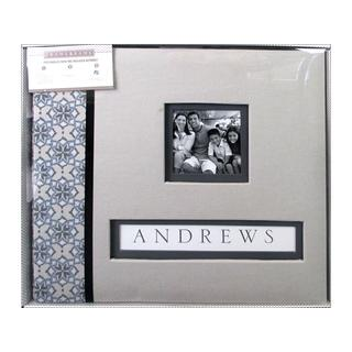 K&Co Scrapbook 12x12 Frame-A-Name Grey Floral Bx