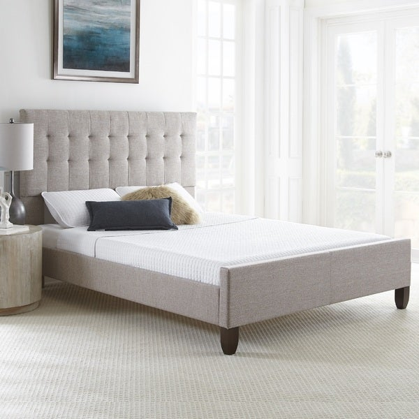 Shop Sleep Sync Heidi Queen Tweed Upholstered Bed frame with two ...