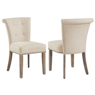 Selma Beige Fabric/Rubberwood Button-tufted Side Chair (Set of 2)