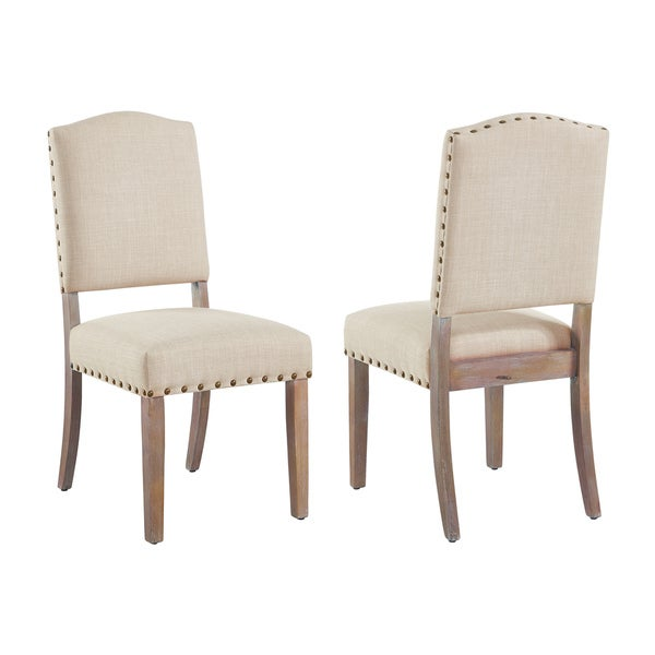 Roland-Fabric Side Chair with stud detail (set of 2)