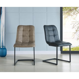 Harper Faux Leather and Metal Side Chair (Set of 2)
