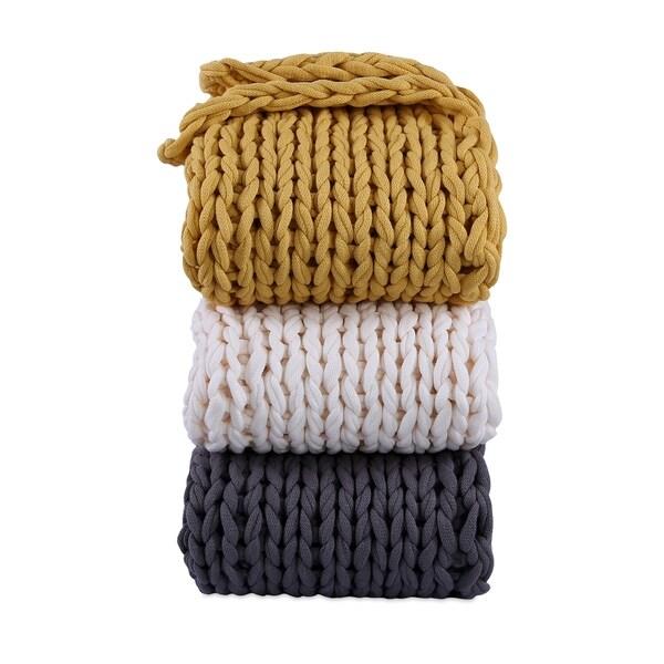 "Berkshire Blanket Twice Knitted Chunky Throw - 50""w x 60""l"