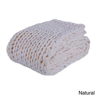 "Berkshire Blanket Twice Knitted Chunky Throw - 50""w x 60""l (Option: Natural)"