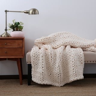 "Berkshire Blanket Twice Knitted Chunky Throw - 50""w x 60""l"