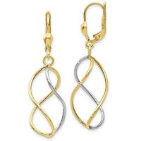 10k Two-tone Gold Twirl Infinity Wire Dangling Leverback Earrings