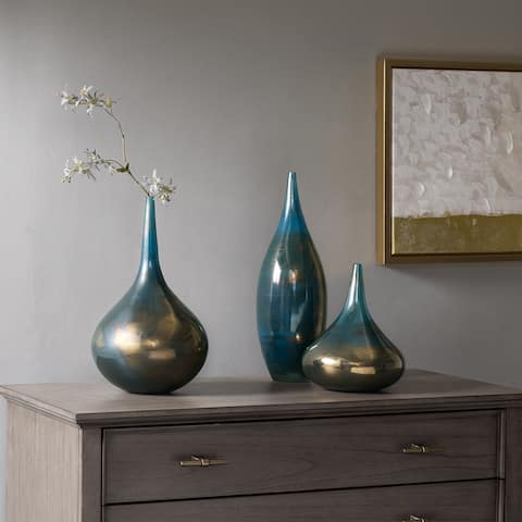 Madison Park Signature Aurora Blue/ Metal Handmade Rainbow Glass Vase- Set of 3