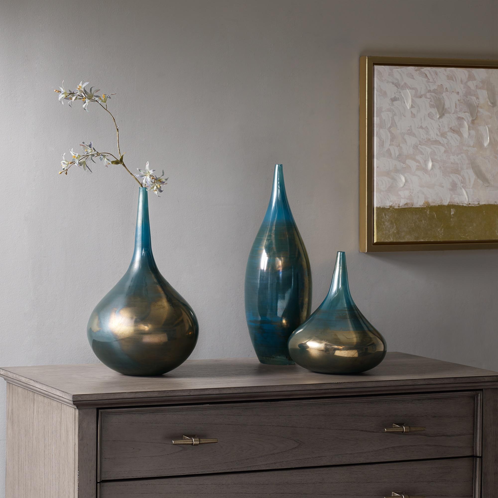 Ordinaire Madison Park Signature Aurora Blue/ Metal Handmade Rainbow Glass Vase  Set  Of 3