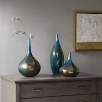 Madison Park Signature Aurora Blue Handmade Rainbow Glass Vase Set