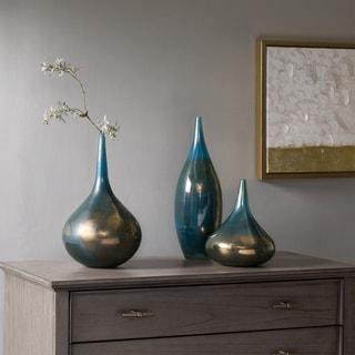 Madison Park Signature Aurora Blue/ Metal Handmade Rainbow Glass Vase  Set  Of 3