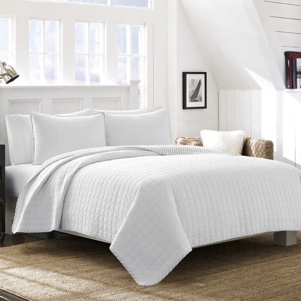 Shop Nautica Maywood White Cotton Quilt Set On Sale