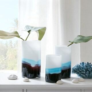 Madison Park Elise White/ Blue Handmade Glass Vase- Set of 3