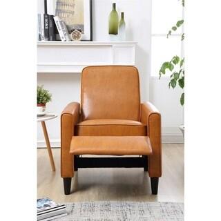 Carson Carrington Knaben Mocha Faux Leather Push Back Recliner Club Chair