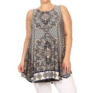 Women's Plus Size Mixed Mandala Sleeveless Top