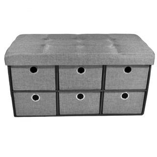 Grey Linen 30-inch x 15-inch x 16-inch Collapsible 6-drawer Storage Ottoman
