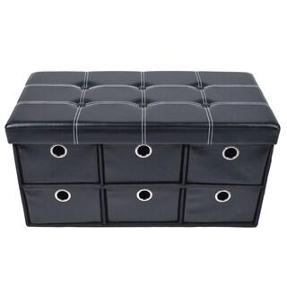 ACHIM Black Faux Leather Collapsible Storage Ottoman