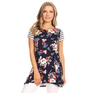 Women's Striped Sleeve Floral Pattern Top|https://ak1.ostkcdn.com/images/products/16201217/P22572648.jpg?impolicy=medium