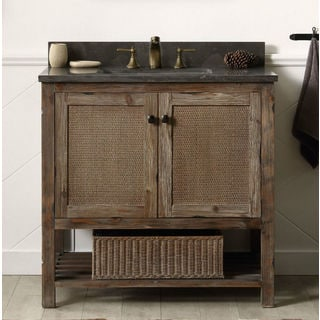 Rustic style carrara white marble top 36 inch bathroom vanity free shipping today overstock for 36 inch rustic bathroom vanity