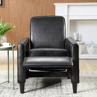 Carson Carrington Knaben Black Faux Leather Push Back Recliner Club Chair