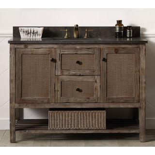 Legion Furniture Brown Wood 48-inch Marble Top Sink Vanity