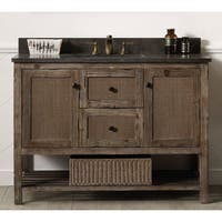 Legion Furniture Brown Wood 48-inch Marble Top Sink Vanity
