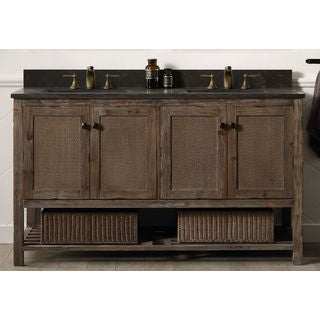 Legion Furniture 60-inch Solid Wood Sink Vanity with Marble Top