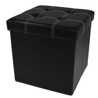 Collapsible Tufted Storage Ottoman - Faux Leather 15x15x15