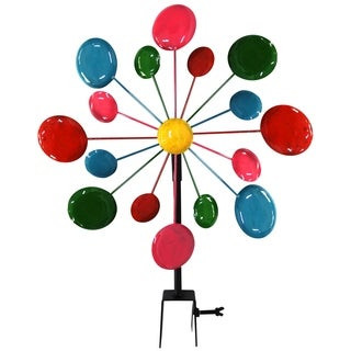Multi-Color Metal Circles Windmill w/Stake & Fence Topper