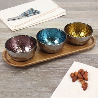 Pampa Bay Three Colored Glass Bowls & Wood Tray Set (4pc)