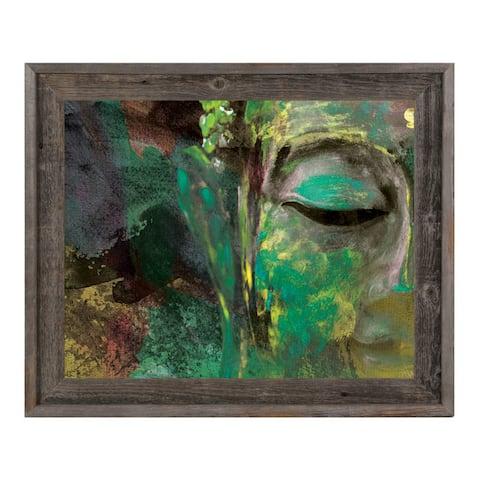 Lush Paint Buddha Abstract Framed Canvas Wall Art