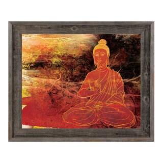 Rust Lotus Buddha on Brown Framed Canvas Wall Art