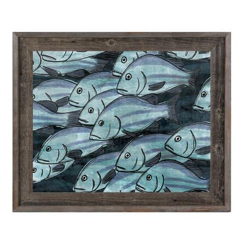 School of Fish in Dark Blue Framed Canvas Wall Art