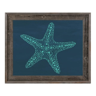 Starfish Dots in Teal Blue Framed Canvas Wall Art