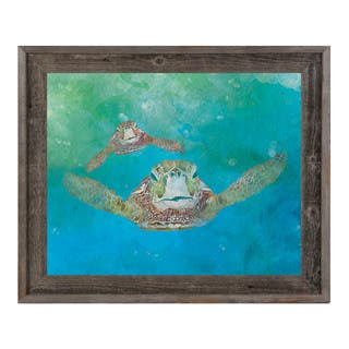 Two Sea Turtles Swimming Framed Canvas Wall Art