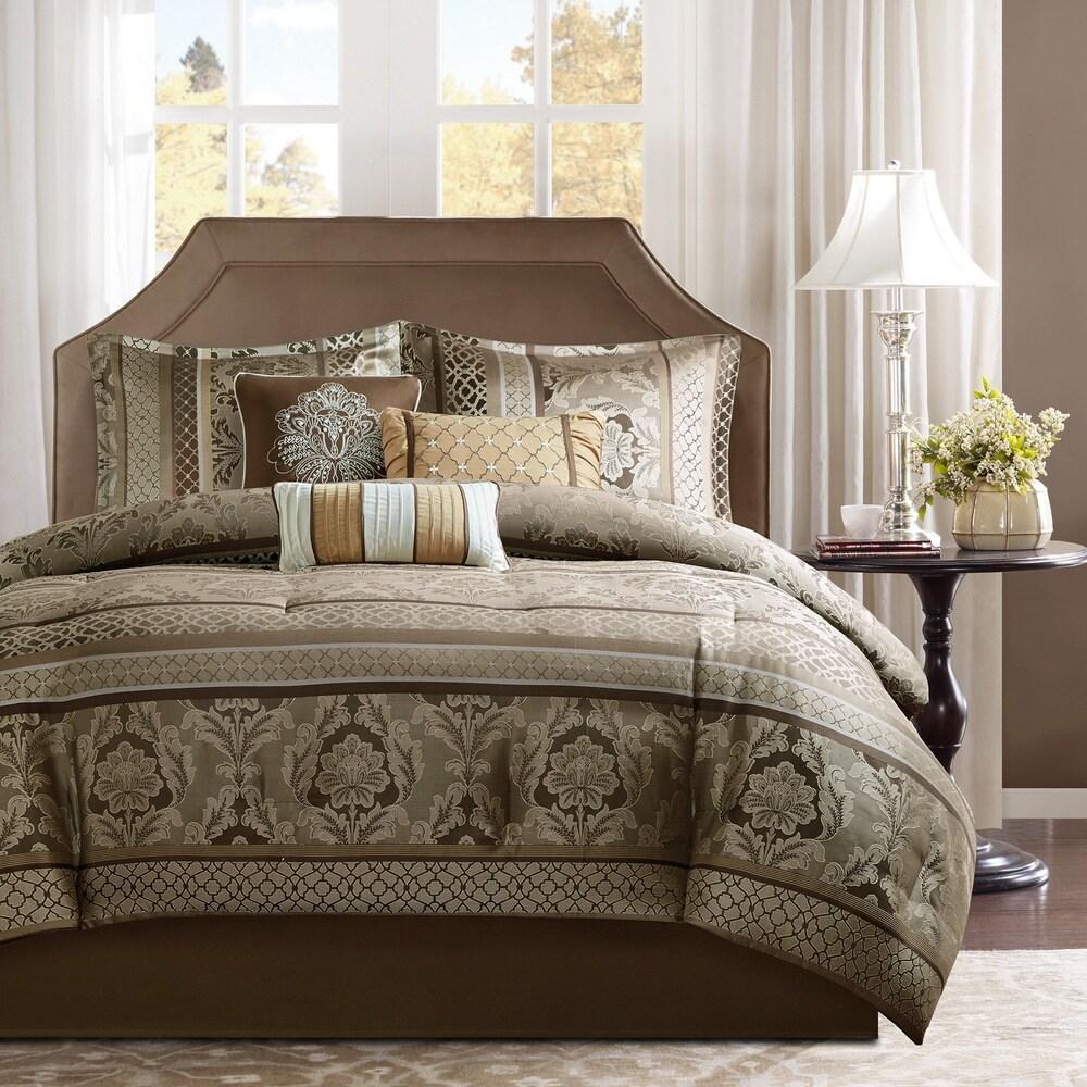 Madison Park Venetian Brown/ Gold 7 Piece Jacquard Comforter Set (California King)