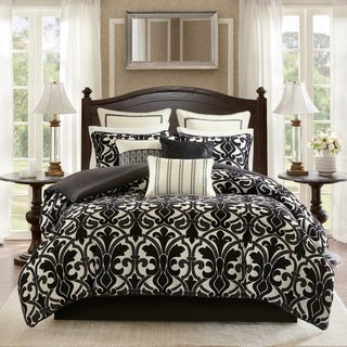 Bombay Harrison Black Chenille Jacquard Bedding Set