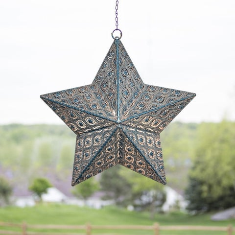 "17.7""H Punched Metal Indoor/Outdoor Cordless LED Star Lantern - Turquoise Patina"