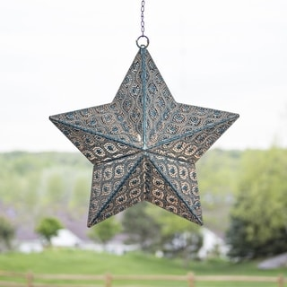 """17.7""""H Punched Metal Indoor/Outdoor Cordless LED Star Lantern - Turquoise Patina"""