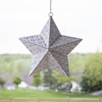 """17.7""""H Punched Metal Indoor/Outdoor Cordless LED Star Lantern - White Patina"""