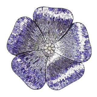 River of Goods Purple Mosaic Glass Flower Wall Decor