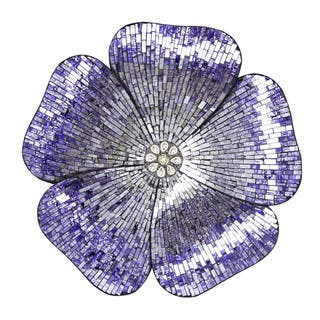 "River of Goods 22""H Purple Mosaic Glass Flower Wall Decor
