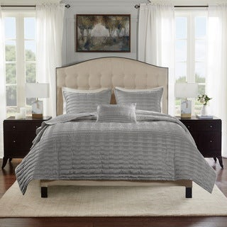 Bombay Chandler Grey Charmeuse Pleated Coverlet Set