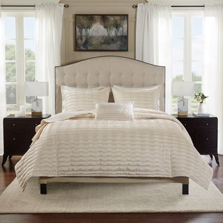Bombay Chandler Ivory Charmeuse Pleated Coverlet Set