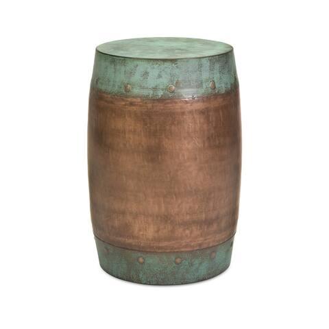 Benzara Rania Copperplated Iron Water Drum Replica Stool