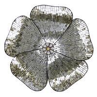 "River of Goods 22""H Gold Mosaic Glass Flower Wall Decor"