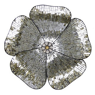 "River of Goods 22""H Gold Mosaic Glass Flower Wall Decor"